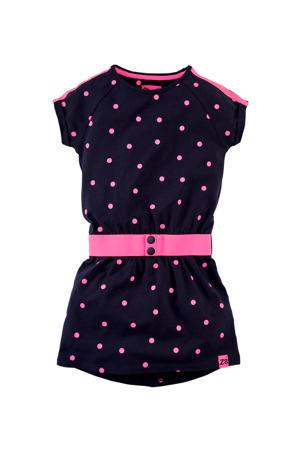 jersey jurk Florinde met stippen en ceintuur donkerblauw/neon roze