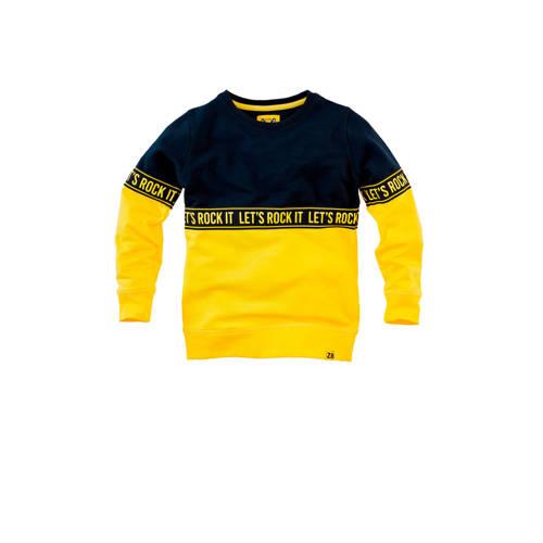 Z8 sweater Thijmen met contrastbies geel/donkerbla