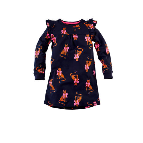 Z8 jersey jurk Katinka met all over print en ruche