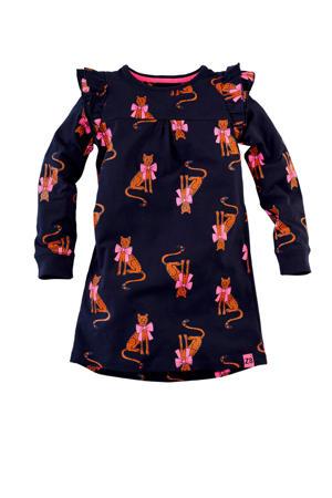jersey jurk Katinka met all over print en ruches donkerblauw/bruin/roze