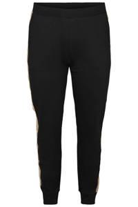 Zizzi slim fit broek Luna met zijstreep zwart/beige, Zwart/beige