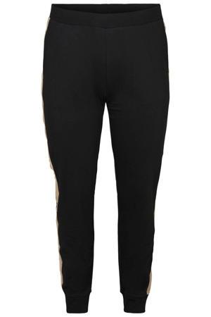 slim fit broek Luna met zijstreep zwart/beige