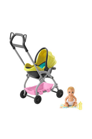 Skipper Babysitter speelset gele kinderwagen met baby