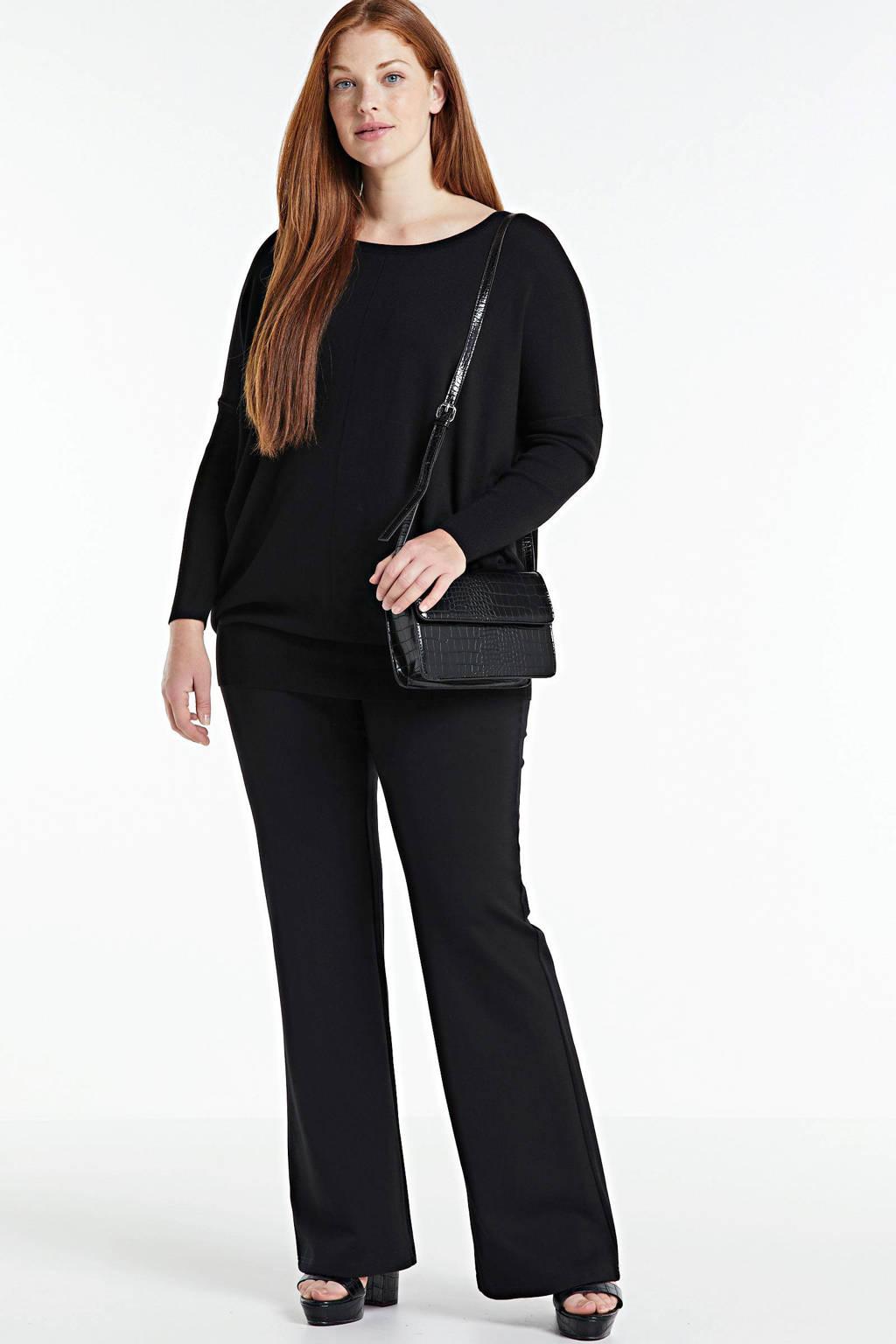 Zizzi fijngebreide trui Carrie zwart, Zwart