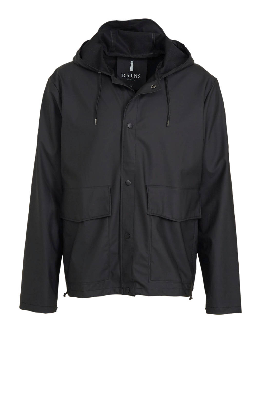 Rains regenjas model 1826, Short Hooded Coat, Zwart