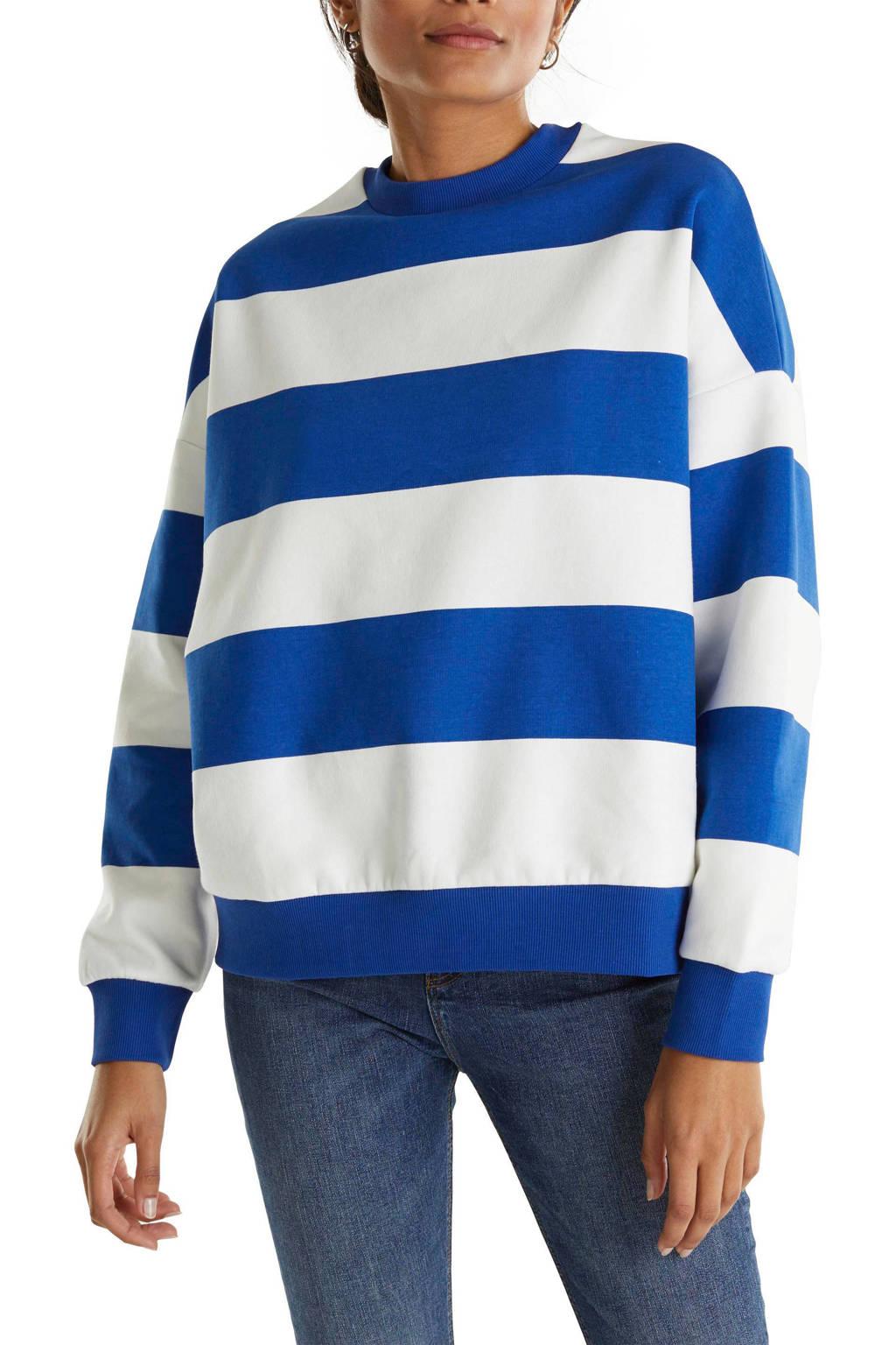 edc Women gestreepte sweater blauw/wit, Blauw/wit