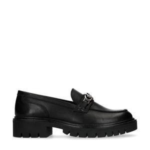 leren loafers met plateauzool zwart