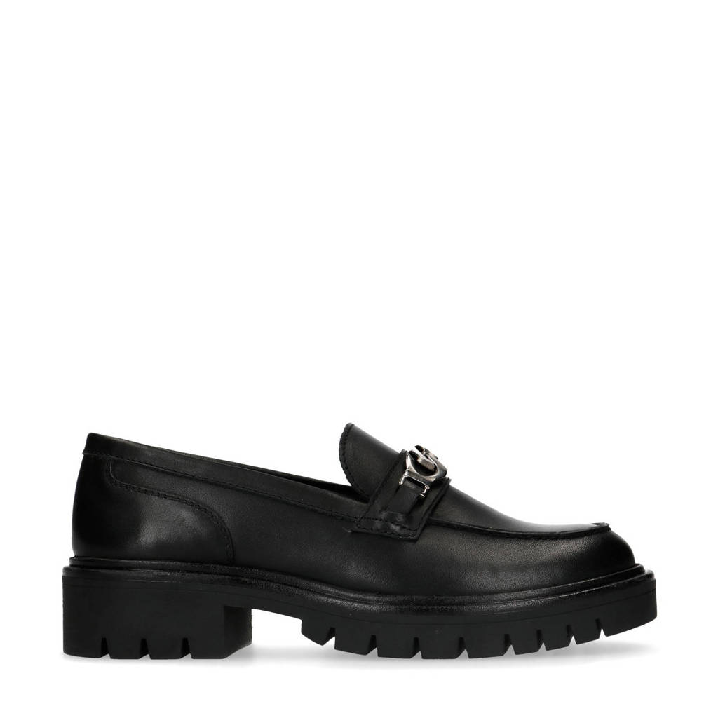 Sacha   leren loafers zwart, Zwart