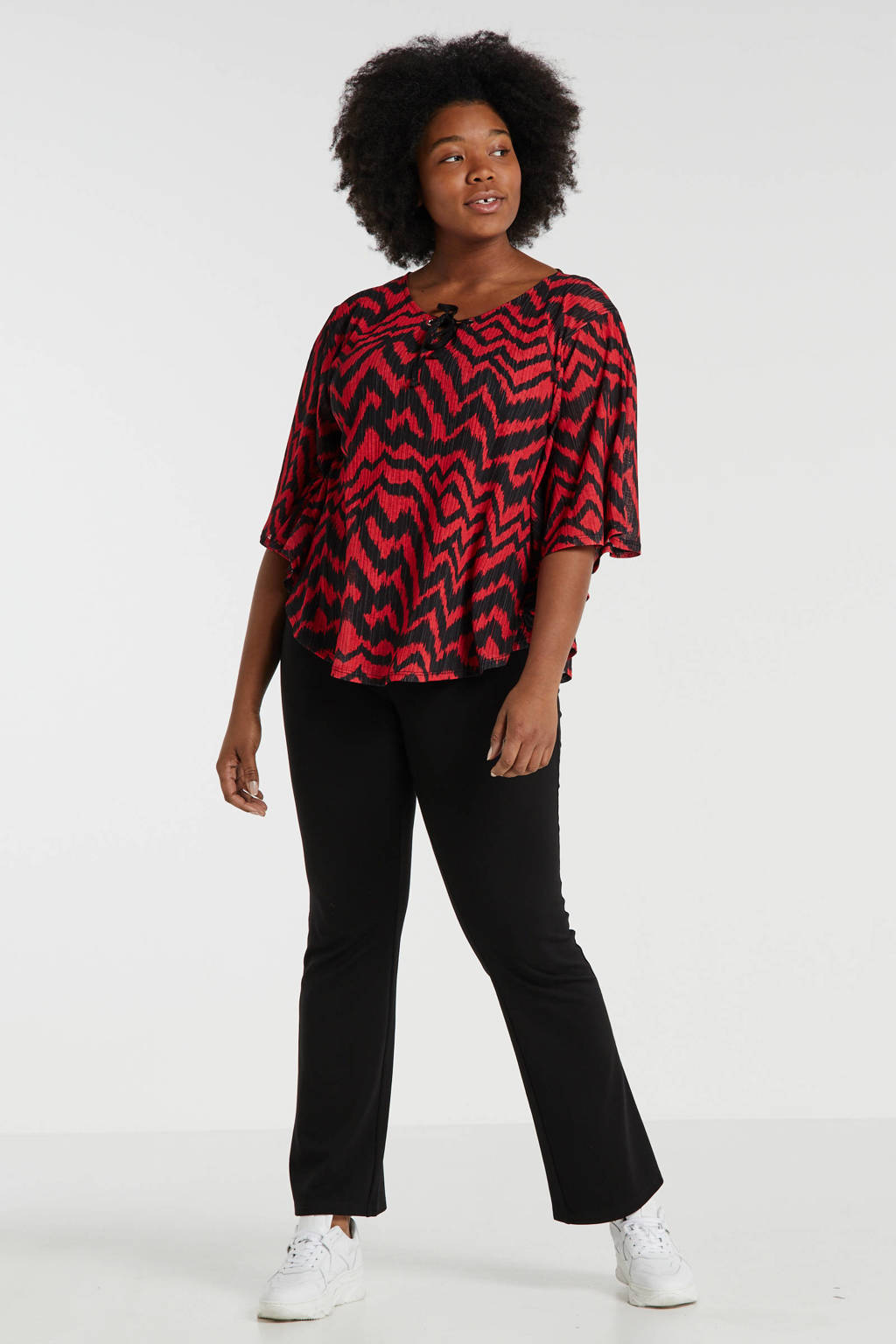 October top met all over print rood/zwart, Rood/zwart