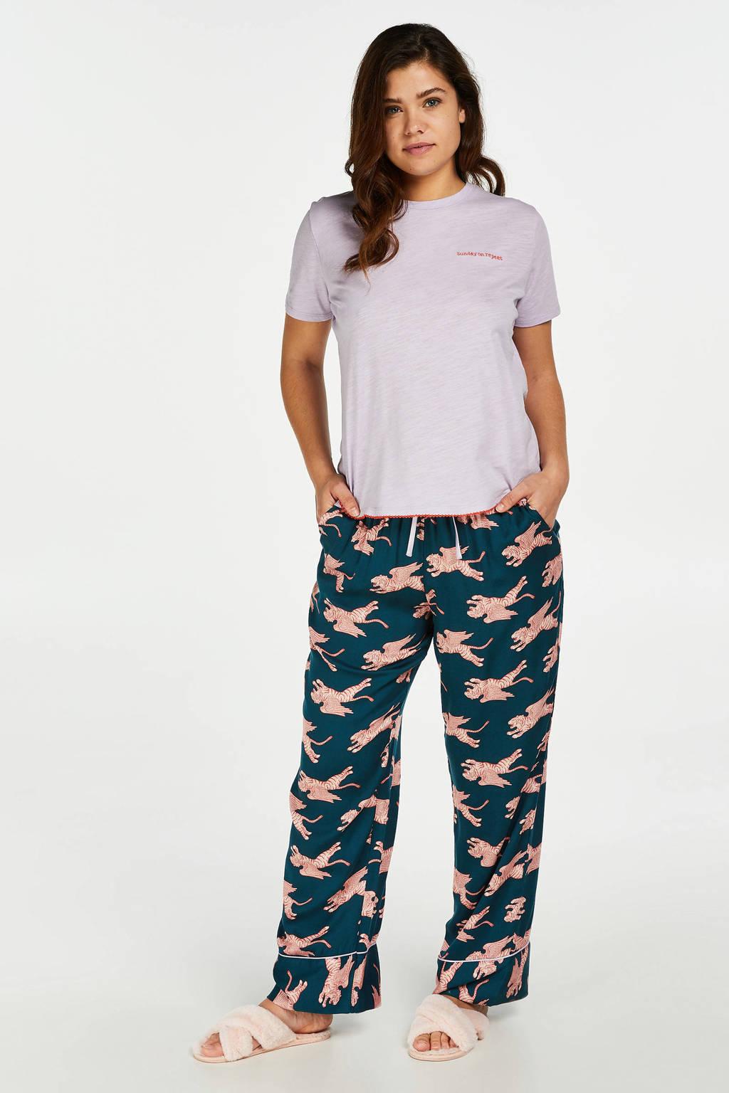 Hunkemöller pyjamatop met borduursels paars, Paars