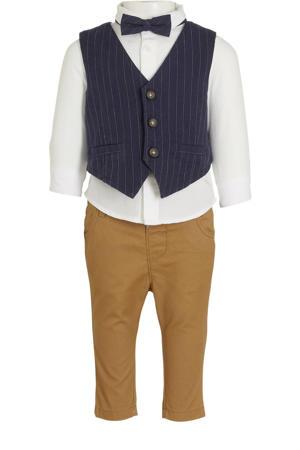 broek + overhemd met gilet en strik - set van 4 wit/donkerblauw/bruin