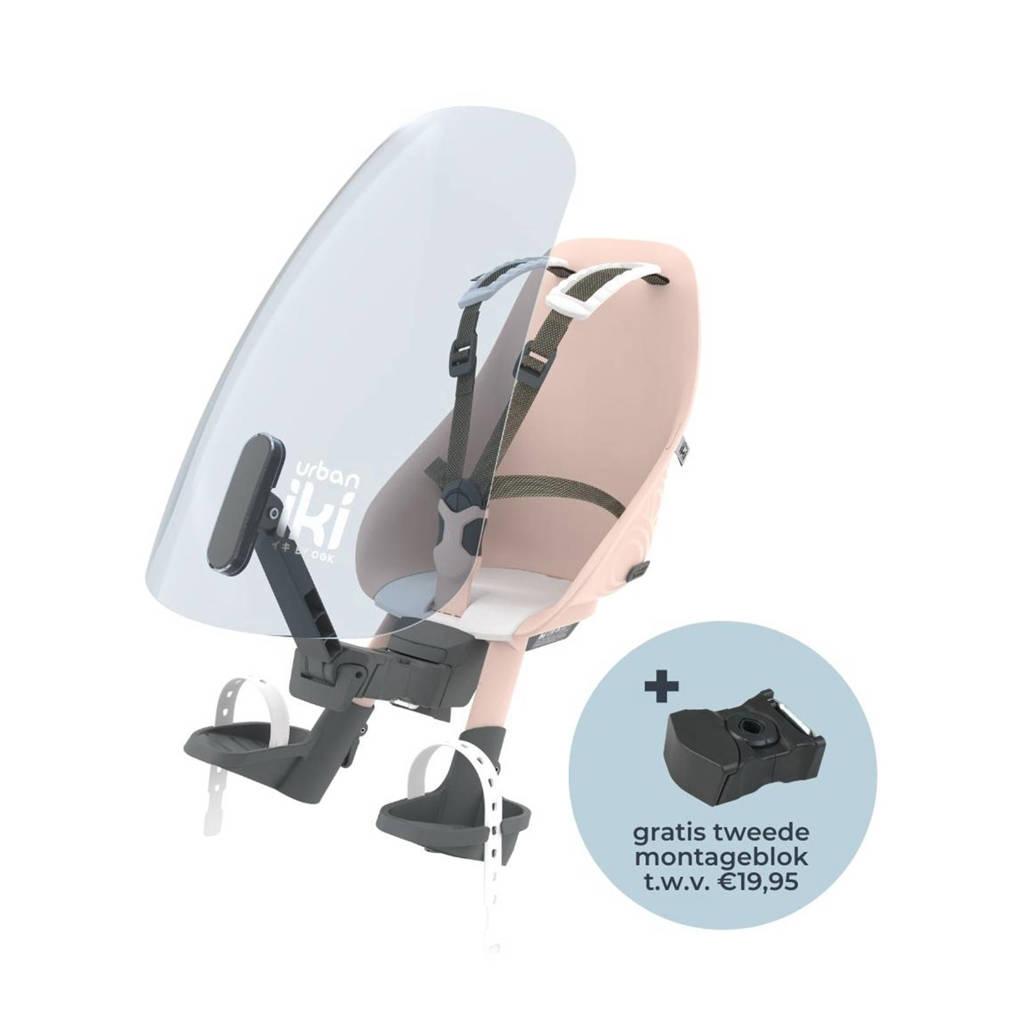 Urban Iki  fietsstoeltje voor + windscherm actie met gratis montage blok Sakura Pink / Shinju White, Roze/wit