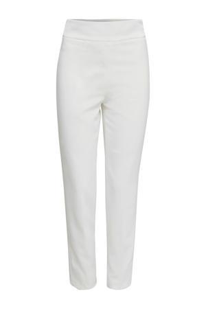 cropped high waist slim fit pantalon crème