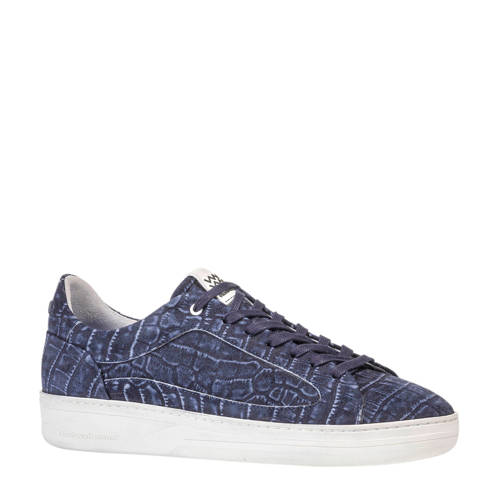 Floris van Bommel su??de sneakers crocoprint blauw