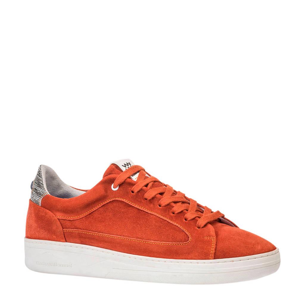 Floris van Bommel   suède sneakers brique, Brique/Oranje-rood