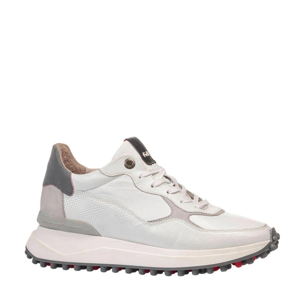 Floris van Bommel Noppi  leren sneakers wit, Wit/grijs
