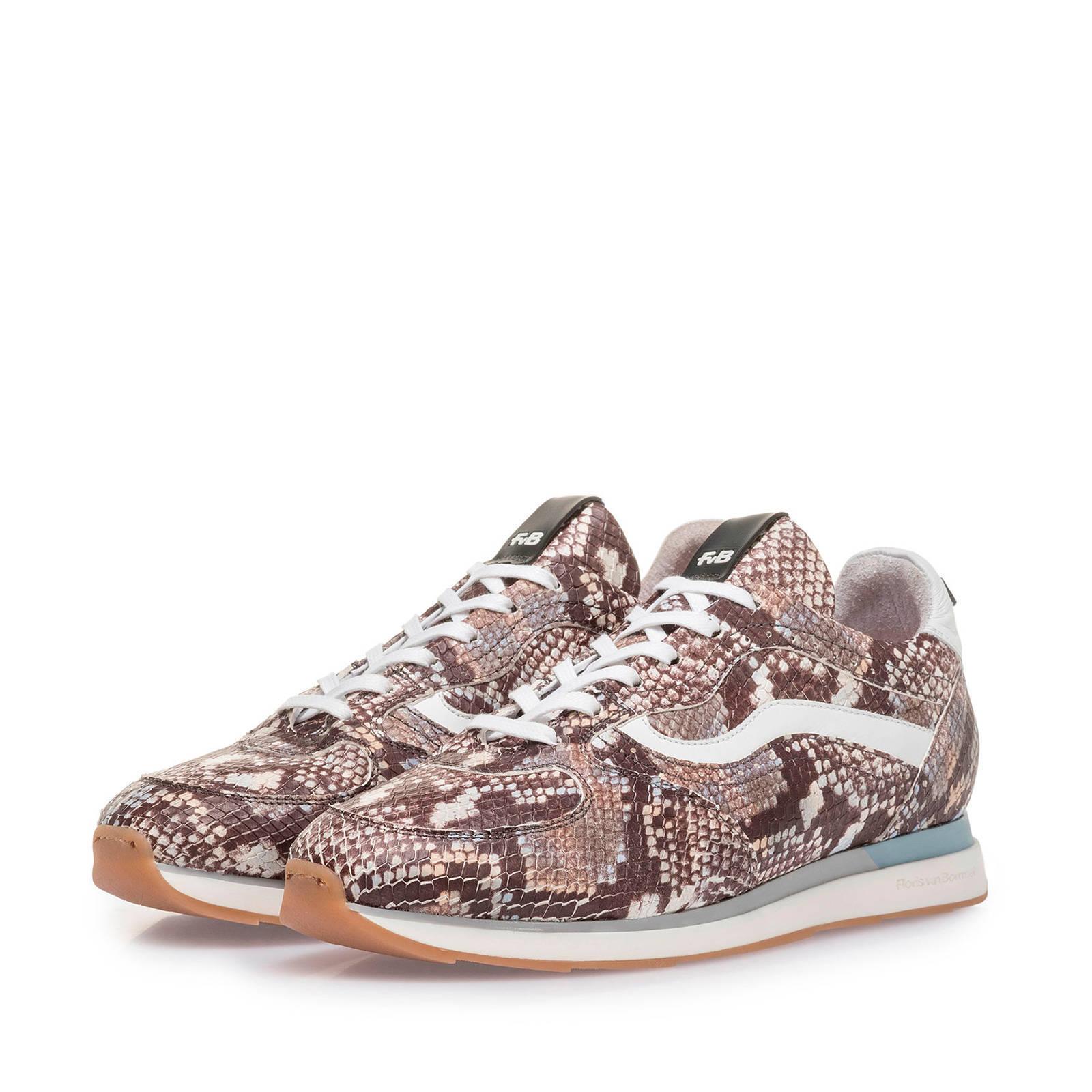 Floris van Bommel Figgi leren sneakers slangenprint bruin