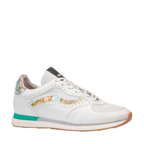 Floris van Bommel Figgi leren sneakers wit/metalli
