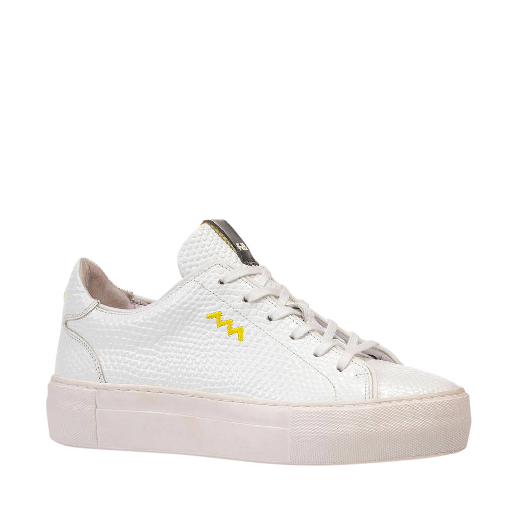 Floris van Bommel Vinni  leren sneakers wit, Wit/geel