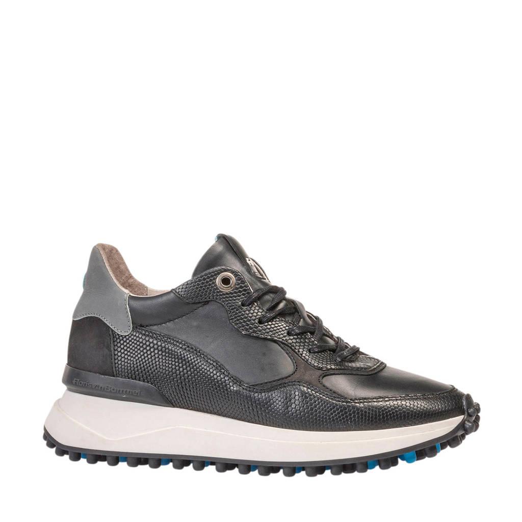 Floris van Bommel Noppi  leren sneakers zwart, Zwart/grijs