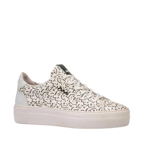 Floris van Bommel Vinni leren sneakers wit/zwart