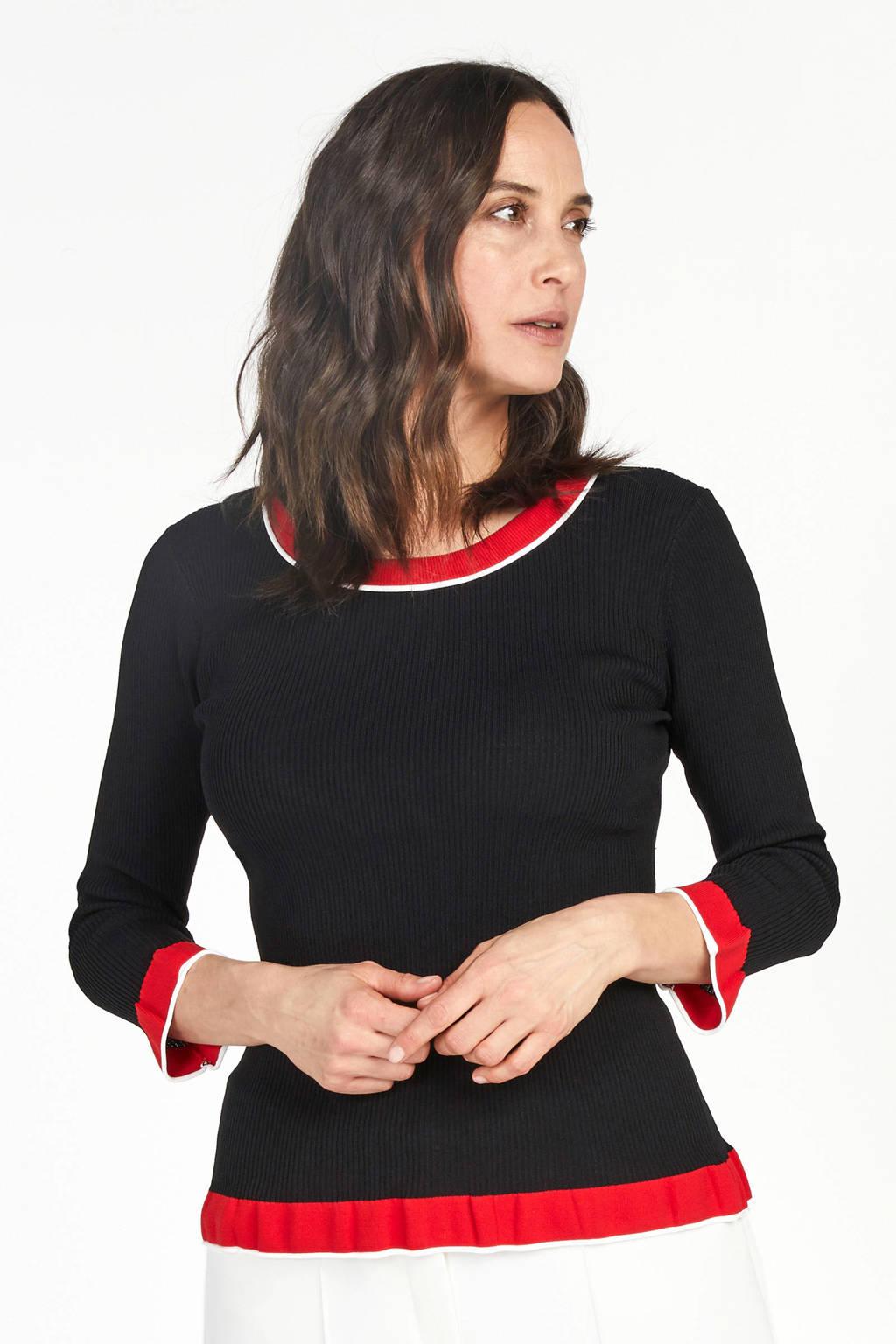 PROMISS gebreide trui zwart/rood, Zwart/rood