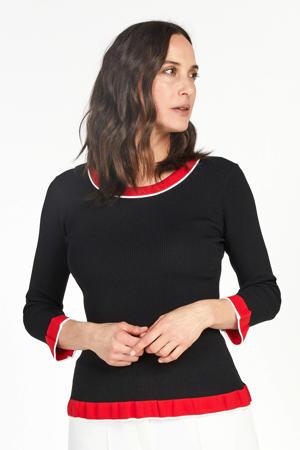 gebreide trui zwart/rood