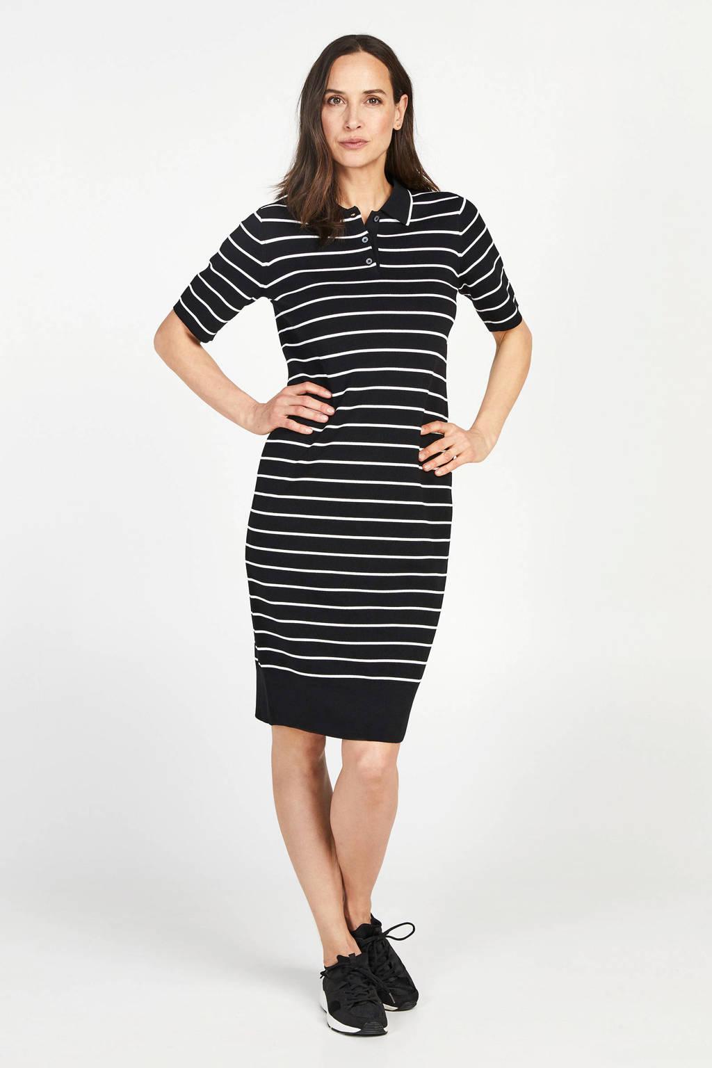 PROMISS gestreepte fijngebreide jurk zwart/wit, Zwart/wit
