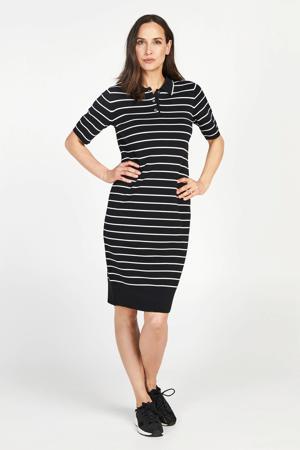 gestreepte fijngebreide jurk zwart/wit