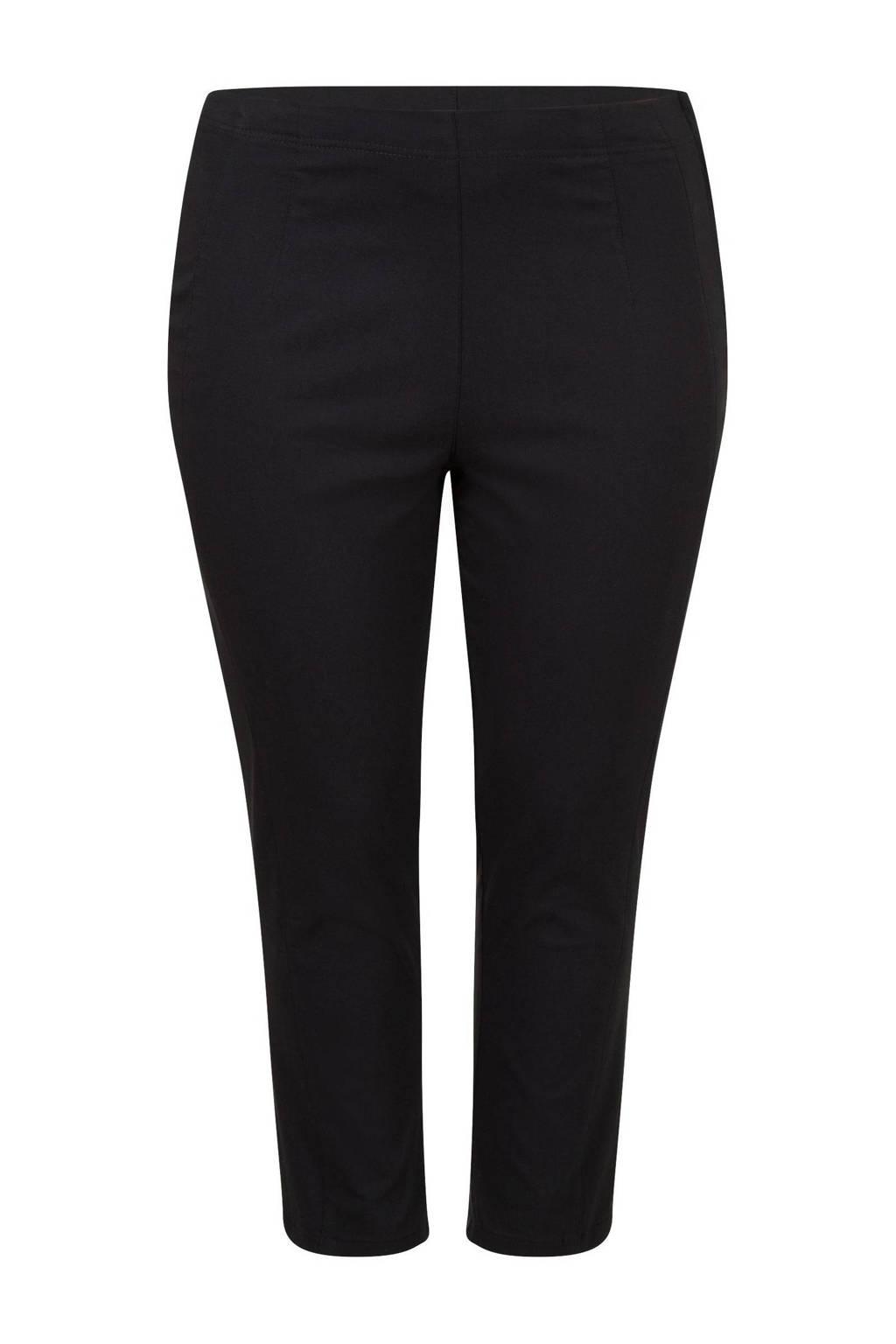 Miss Etam Plus cropped high waist slim fit tregging zwart, Zwart