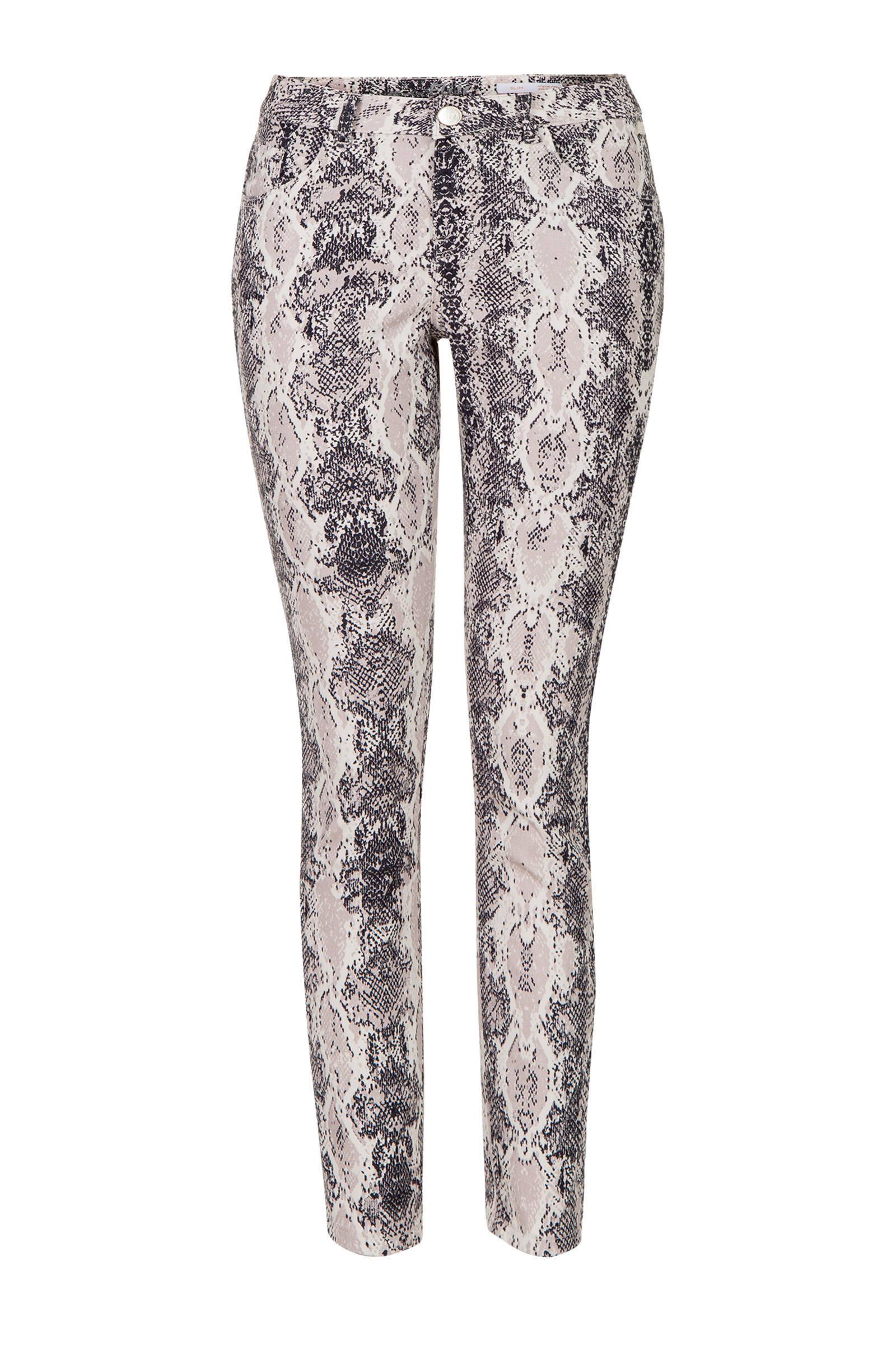 cropped slim fit broek Elise 78 met slangenprint grijs