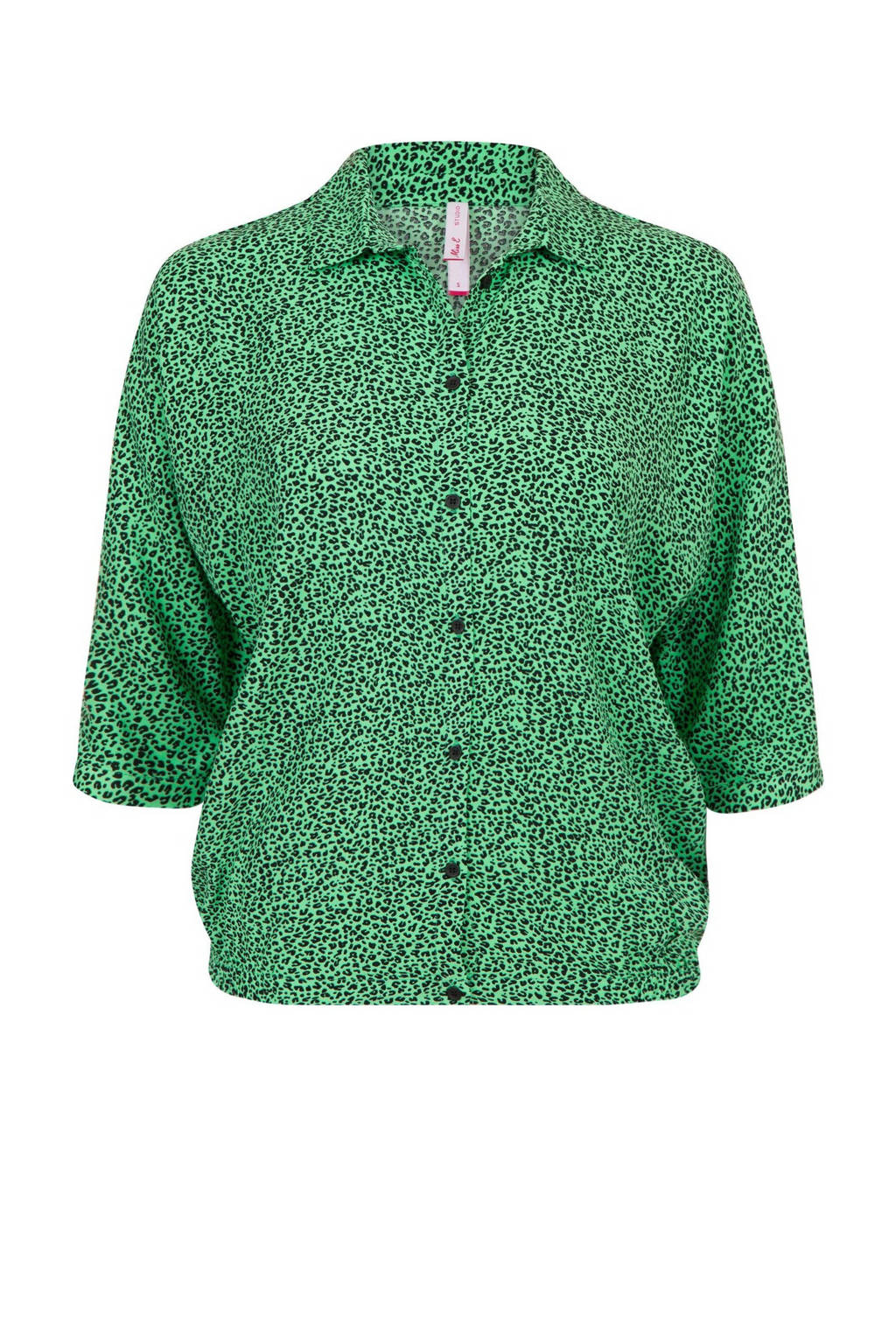 Miss Etam Regulier blouse met panterprint groen, Groen
