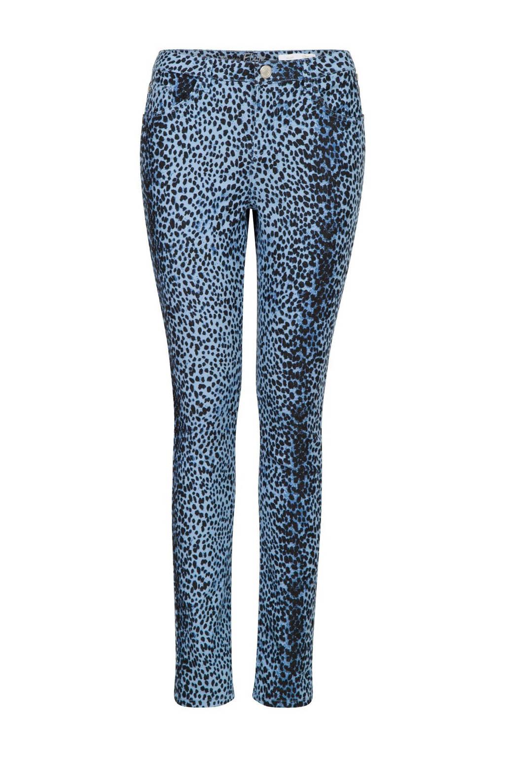 Miss Etam Regulier skinny broek met dierenprint blauw, Blauw