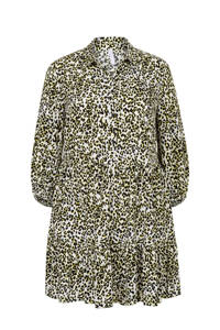 Miss Etam Plus tuniek met panterprint en plooien geel/zwart, Geel/zwart