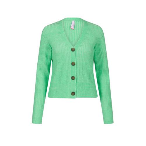 Miss Etam Regulier ribgebreid vest groen
