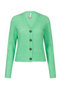 Miss Etam Regulier ribgebreid vest groen, Groen