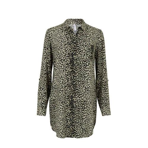 Miss Etam Regulier blouse met dierenprint groen/zw