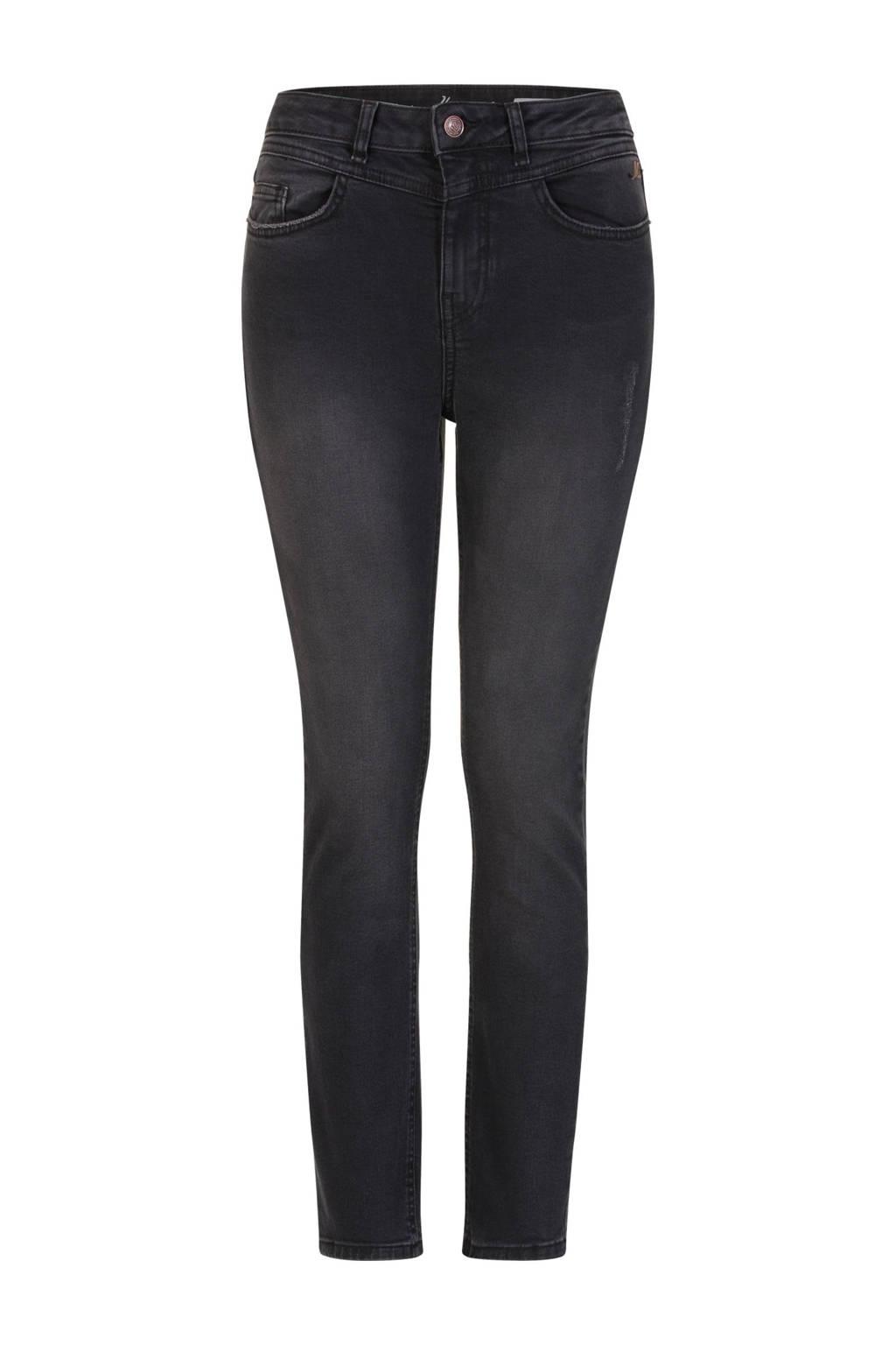 Miss Etam Regulier high waist slim fit jeans zwart, Zwart