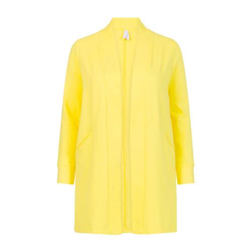 Miss Etam Plus ribgebreid vest geel