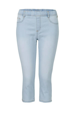 high waist slim fit capri jeans light denim bleached
