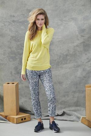 cropped skinny broek met panterprint blauw