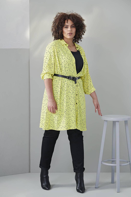 Miss Etam Plus tuniek met stippen geel, Geel