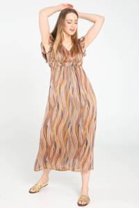Cassis maxi jurk met all over print en ruches camel, Camel