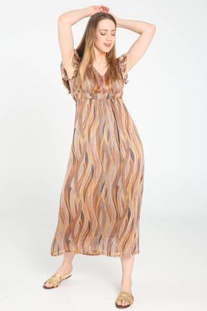 maxi jurk met all over print en ruches camel