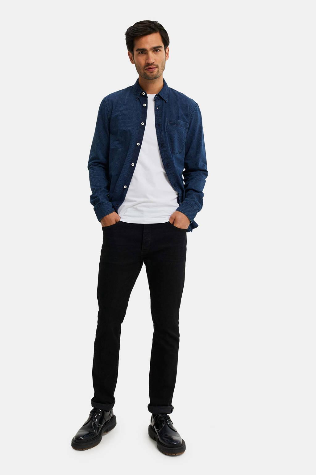 WE Fashion Blue Ridge tapered fit broek zwart, Zwart