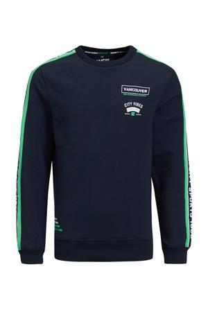 sweater met contrastbies en contrastbies donkerblauw/groen/wit
