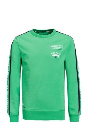 sweater met contrastbies en contrastbies groen/donkerblauw/wit