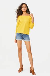 WE Fashion off shoulder top met textuur geel, Geel
