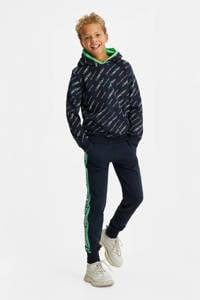 WE Fashion hoodie met all over print donkerblauw/wit/groen, Donkerblauw/wit/groen