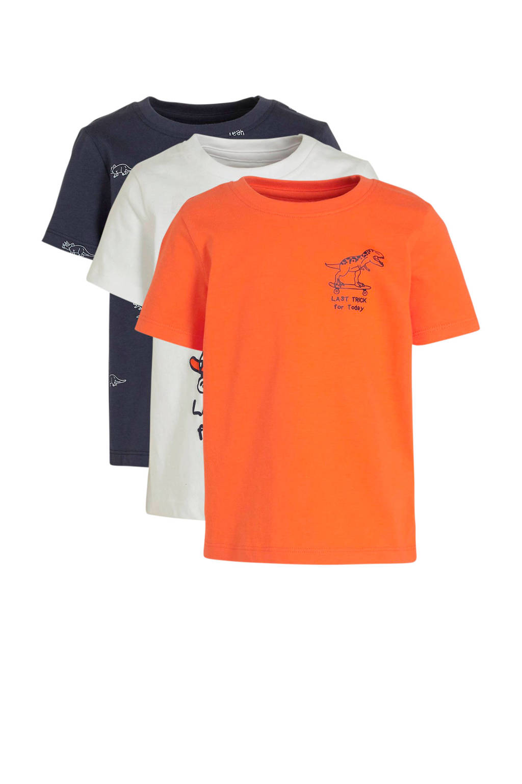 C&A Palomino T-shirt met printopdruk - set van 3 wit/oranje/donkerblauw, Wit/Oranje/Donkerblauw